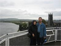 "Karen and Jonathan overlooking downtown Limerick from King John""s castle"