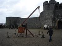 "A trebuchet in the middle of King John""s Castle in Limerick"