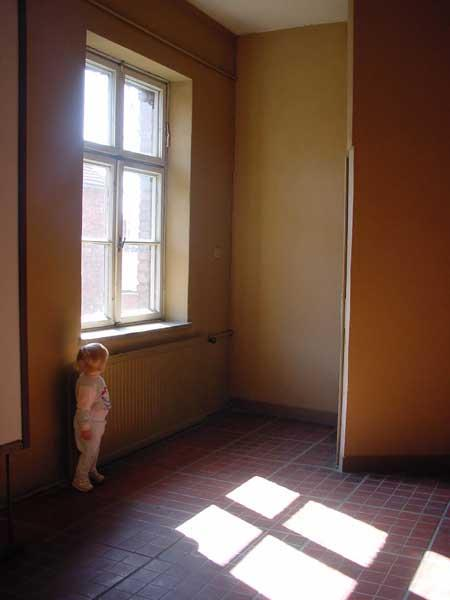 Marlis Hazleton takes a moment to look out the window while walking around the grounds of Auschwitz (Oswiecim, Poland).