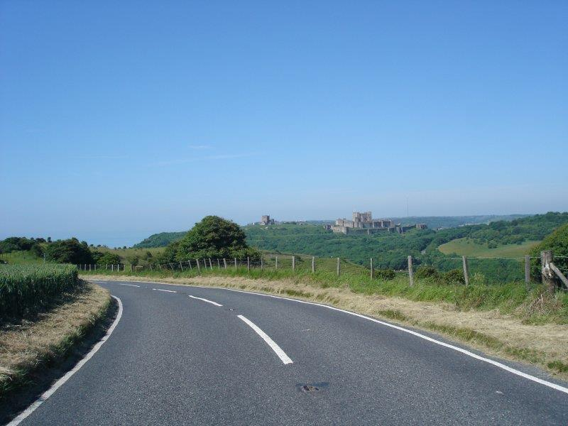 View of Dover Castle from road to Bleriot Memorial