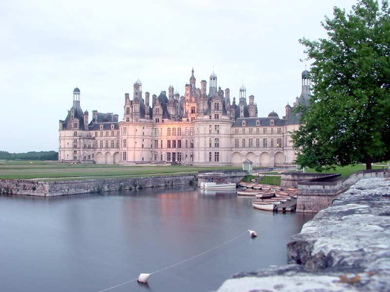 As the sun sets, and night falls, the lights are turned on the chateaux.