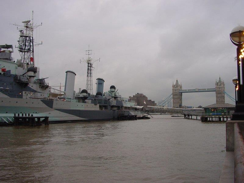 <P>HMS Belfast and the Tower Bridge from the banks of the Thames.</P>