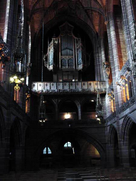 From the alter, looking back up at the organ.  This was a samll chappel attached to the GIANT church in Liverpool.