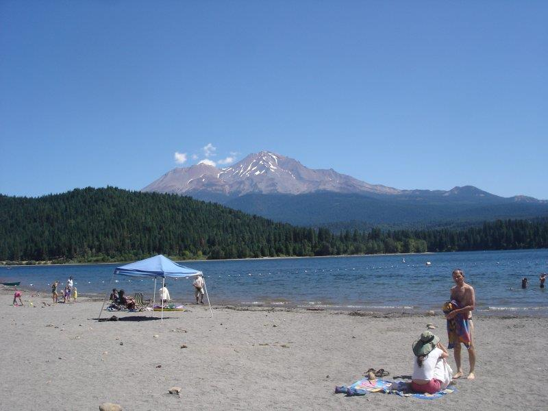 View of Mount Shasta from lake