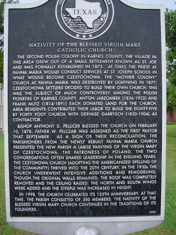 Some history of the church in Czestochowa- Texas